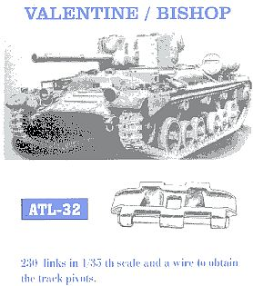 Valentine/ Bishop Tank Track Link Set (230 Links) Plastic Model Tank Tracks  1/35 Scale #32