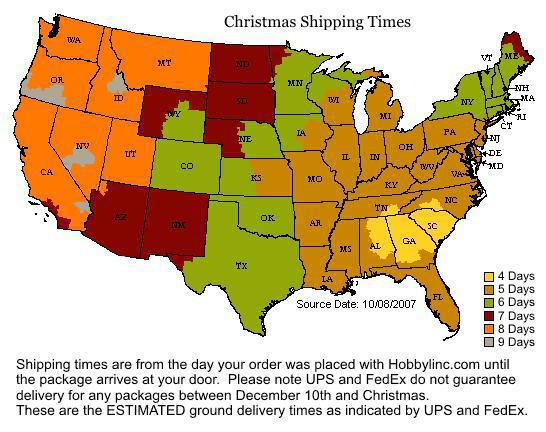 Shipping Times Delivery Map
